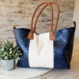 Handbags - Snake Print Oversized Braided Handle Bag Purse